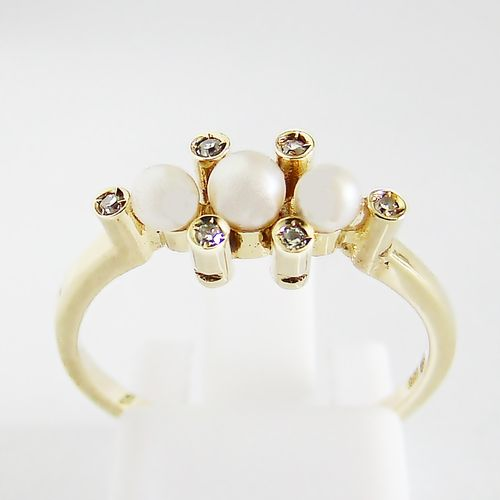 Ring Gold 585 Perle Brillanten