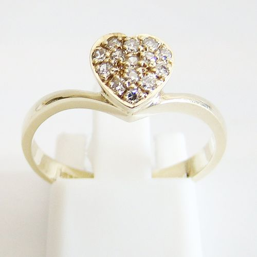 Damenring Gold 585er 0,18 ct Diamanten Herz