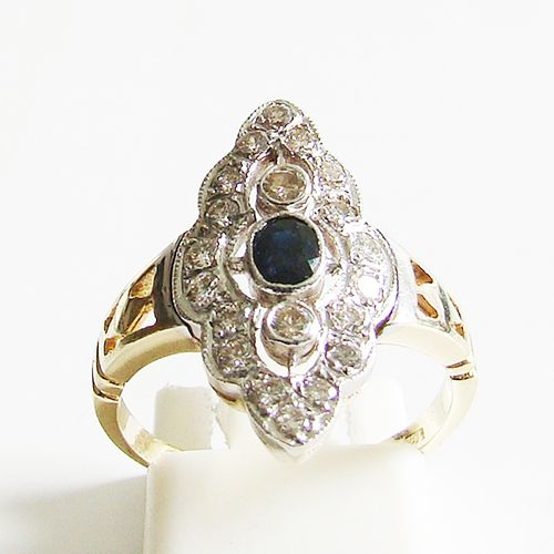 Ring Gold 585er Brillanten Saphir