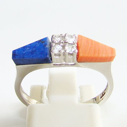 Ring Gold 585 Koralle LapisLazuli Spinell