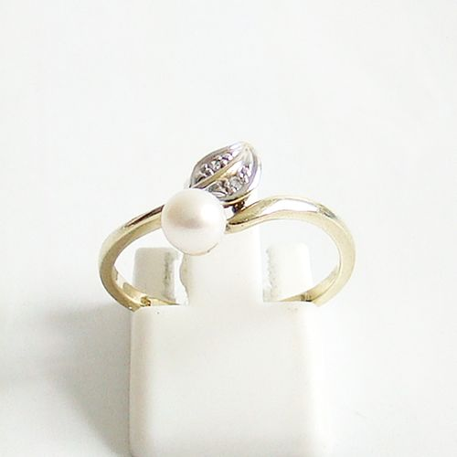 Ring Gold 585 Perle Diamanten