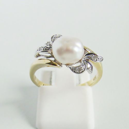 Ring Gold 585 Brillanten Biwaperle