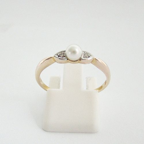 Ring Gold 333 Perle Diamant